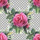 Naadloos patroon met waterverfbloemen De hond nam toe Royalty-vrije Stock Fotografie