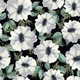 Naadloos patroon met waterverfbloemen en bladeren vector illustratie