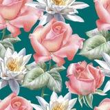 Naadloos patroon met waterverfbloemen Nam toe en Royalty-vrije Stock Afbeeldingen