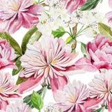 Naadloos patroon met waterverfbloemen peonies stock illustratie