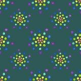 Naadloos patroon met waterverfcirkels op donkergroene achtergrond Stock Afbeelding