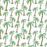Naadloos patroon met waterverfpalmen Eindeloze druk vectortextuur Reis tropische achtergrond Stock Afbeeldingen