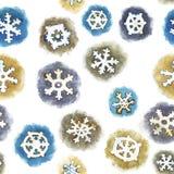 Naadloos patroon met waterverfsneeuwvlokken Stock Foto