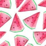 Naadloos patroon met waterverfwatermeloen Royalty-vrije Stock Foto
