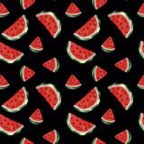 Naadloos patroon met waterverfwatermeloen stock illustratie
