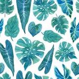 Naadloos patroon met weelderig groen van tropische installaties stock illustratie