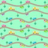 Naadloos patroon met wegen en auto's stock illustratie