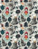 Naadloos patroon met weinig rode berijdende kap en grijze hongerige wolf op de bosfairytale-verbeeldingsachtergrond Royalty-vrije Stock Foto
