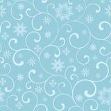 Naadloos patroon met werveling en sneeuwvlokken op een blauwe achtergrond vector illustratie