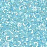 Naadloos patroon met werveling en sneeuwvlokken op een blauwe achtergrond stock illustratie