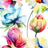 Naadloos patroon met wilde bloemen Stock Foto's