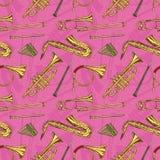 Naadloos Patroon met Wind Muzikale Instrumenten stock illustratie