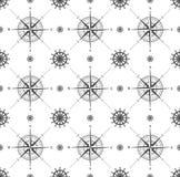 Naadloos patroon met windrose Stock Afbeelding