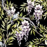 Naadloos patroon met wisteria De hand trekt waterverfillustratie Stock Fotografie
