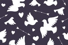 Naadloos patroon met witte liefdeduiven Stock Afbeeldingen