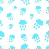 Naadloos patroon met wolk en waterdaling Stock Foto's