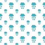 Naadloos patroon met wolk en waterdaling Stock Afbeeldingen