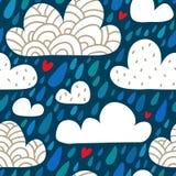 Naadloos patroon met wolken en dalende regendruppels en harten Stock Foto's
