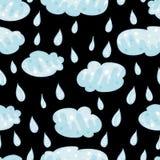 Naadloos patroon met wolken en regen, dalingen Royalty-vrije Stock Fotografie