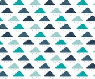 Naadloos patroon met wolken en regendruppels 3 kleurenpatroon Naadloos patroon met wolken en regendruppels Vector royalty-vrije illustratie