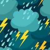 Naadloos patroon met wolken, regendruppels en bliksem Stock Afbeeldingen