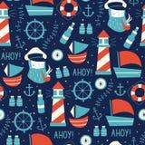Naadloos Patroon met Zeelieden, Wiel, Schip, en Verschillende Elementen Royalty-vrije Stock Afbeelding