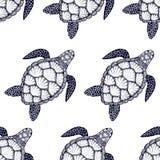 Naadloos patroon met zeeschildpad in de stijl van de lijnkunst Hand getrokken vectorillustratie Oceaanelementen Royalty-vrije Stock Foto's