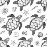Naadloos patroon met zeeschildpad en shells in de stijl van de lijnkunst Hand getrokken vectorillustratie Oceaanelementen Stock Foto's