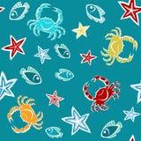 Naadloos patroon met zeesterren, krabben en vissen stock illustratie