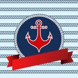 Naadloos patroon met zeevaartelementen Stock Afbeeldingen