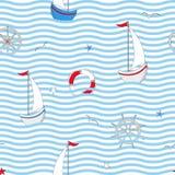 Naadloos patroon met zeevaartontwerpelementen Leuke overzeese voorwerpen Vector illustratie stock illustratie
