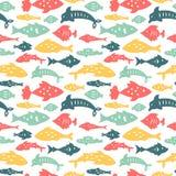 Naadloos patroon met zeevissen royalty-vrije illustratie