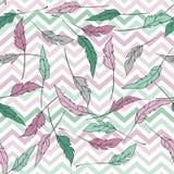 Naadloos patroon met zigzag en veren Royalty-vrije Stock Foto