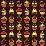 Naadloos patroon met zoete cupcakes Stock Foto's