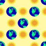 Naadloos patroon met zon en aarde Vector Illustratie