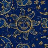 Naadloos patroon met zon, maan en wolken stock illustratie
