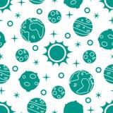 Naadloos patroon met zon, planeten, sterren ruimte vector illustratie