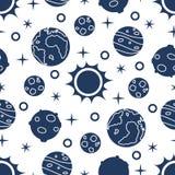 Naadloos patroon met zon, planeten, sterren ruimte stock illustratie