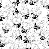 Naadloos patroon met zwart-witte bloemen op a royalty-vrije illustratie