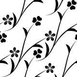 Naadloos patroon met zwart-witte bloemen op een witte achtergrond stock illustratie