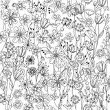 Naadloos patroon met zwart-witte contour Stock Afbeelding