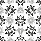 Naadloos patroon met zwarte bloemen Royalty-vrije Stock Foto's