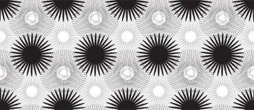 Naadloos Patroon met Zwarte Gestileerde Bloemen op Witte Achtergrond Royalty-vrije Stock Afbeeldingen