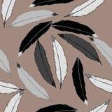 Naadloos patroon met zwarte, grijze en witte veren Royalty-vrije Stock Foto's