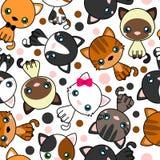 Naadloos patroon met zwarte kat, witte kat, grijze kat, grijze en witte kat, bruine en zwarte handeling, bruine kat stock illustratie