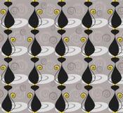 Naadloos patroon met zwarte katten en wervelingen Stock Afbeeldingen
