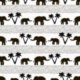 Naadloos patroon met zwarte olifanten en hun babys, punten, pa royalty-vrije illustratie