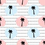 Naadloos patroon met zwarte palmen, cirkels, roze en blauwe D royalty-vrije illustratie