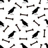 Naadloos patroon met zwarte raven en beenderen op witte backgr Royalty-vrije Stock Afbeeldingen