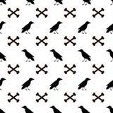 Naadloos patroon met zwarte raven en beenderen op witte backgr Royalty-vrije Stock Afbeelding
